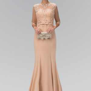 Dresses & Skirts - Long Prom Dress with Sheer Illusion Neck GL1423